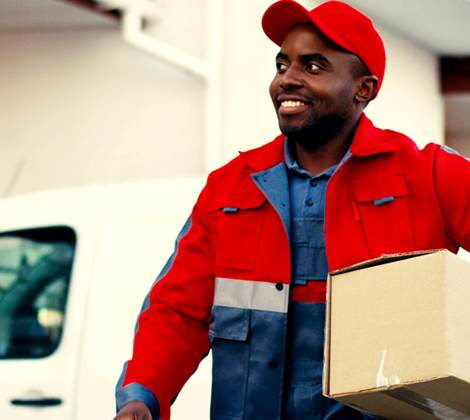 Delivery Driver Red Uniform Header