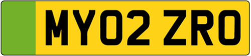 electric vehicle green rear number plate