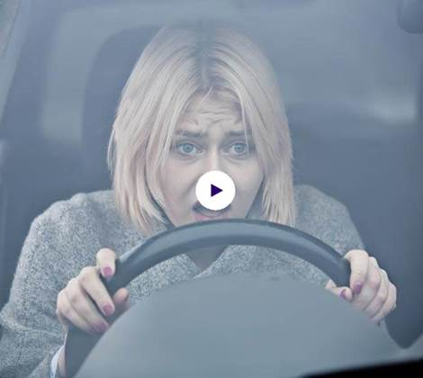 female driver stressed