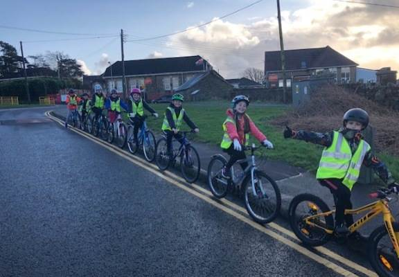 Crwys Primary school children cycling Jan 2020